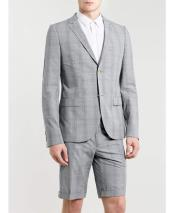 Mens Summer Light Gray Business Suits With Shorts Pants Set (Sport