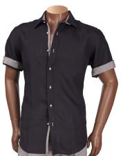 Inserch Mens Linen Short Sleeve Trimming Black