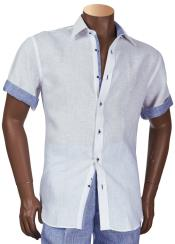 Inserch Mens Linen Trimming White Short Sleeve