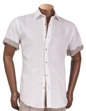 Inserch Mens Linen Off White Short Sleeve