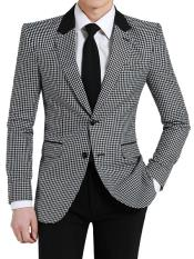 Two Button houndstooth checkered Designed Notch Lapel Black ~ White Blazer