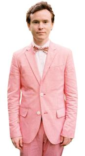 Mens 2 Button Slim Fit Notch Lapel 2 Piece Hot Pink Linen Wedding Tuxedo Suit