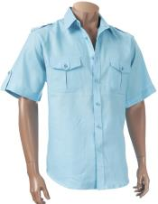 Inserch Mens Linen Aqua Blue Short Sleeve