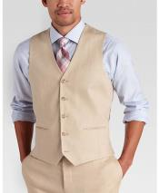 Tan Single Breasted Five Button Vest Modern Fit Linen Vest & Pants