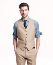 Taupe Single Breasted Six Button Vest Modern Fit Linen Vest & Pants