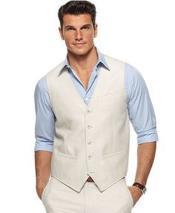 Off White Single Breasted Five Button Vest V-neckline Linen Vest & Pants