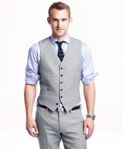 Dark Gray Single Breasted Six Button Vest V-neckline Linen Vest & Pants