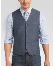 Indigo Blue Single Breasted Five Button Vest Modern Fit Linen Vest & Pants