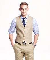 Cream Single Breasted Six Button Vest V-Neckline Linen Vest & Pants