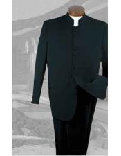 Button Closure Poly Gabardine Pleated Pants Black 2 Piece Suit