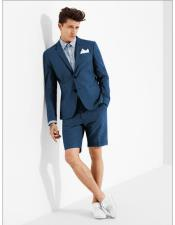 summer business suits with shorts pants set (sport coat Looking) Denim