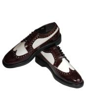 Mens Leather Cushion Insole 5 Wingtip Eyelet lacing Burgundy~White Shoes