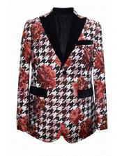 Floral  Flower Print Red White Novelty Holiday Mens Cheap Priced Blazer