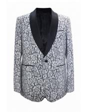 ~ Flower Print Novelty Holiday Mens Blazer Crazy Sport Coat  White Funny Dinner Matching Fashion Bow