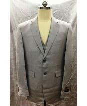 Gray Single Breasted 2 Button Linen Vest Suit