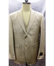 2 Button Single Breasted Linen Vest Natural Suit