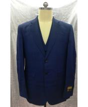 Dark Navy Single Breasted Linen Vest 2 Button Suit