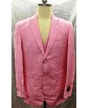 Single Breasted Linen 2 Button Notch Lapel Pink Vest Suit