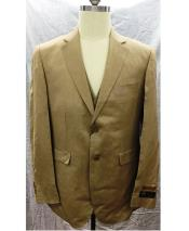 2 Button Single Breasted Linen Vest Suit Tan
