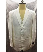 White 2 Button Single Breasted Linen Vest Suit