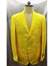 Single Breasted Linen Yellow Vest 2 Button Suit