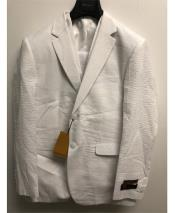 Mens Single Breasted 2 Button Notch Lapel White Seersucker Suit