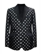 Mens 2 Button Dot Designed Peak Lapel Black ~ White Sport coat Blazer