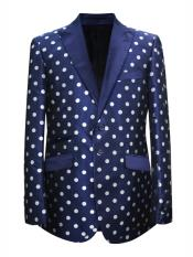 Mens 2 Button Dot Designed Peak Lapel Navy ~ White Sport coat Blazer