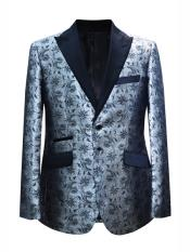 Mens 2 Button Floral Designed Peak Lapel Silver Sport Coat Blazer