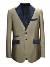 Button Peak Lapel Champagne