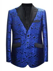 2 Button Paisley Designed Royal Blue Sport Coat Blazer Two Toned Tuxedo Mix With Black Dinner Jacket