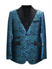 2 Button Paisley Designed Blue ~ Turquoise ~ Aqua Tiffany blue Sport Coat Blazer Two Toned Tuxedo