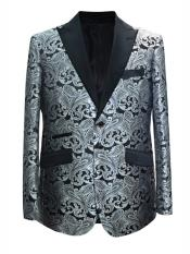 2 Button Paisley Designed Grey ~ Gray Silver Black / White Sport Coat Blazer Two Toned Tuxedo