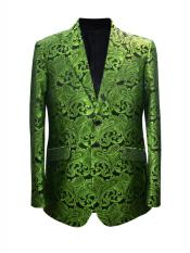 Mens 2 Button Paisley Designed Peak Lapel Lime Sport Coat Blazer