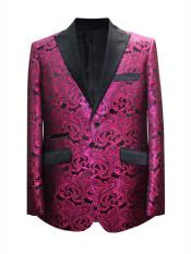 2 Button Paisley Designed Hot Pink Sport Coat Blazer Two Toned Tuxedo Mix With Black Dinner Jacket