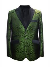 Mens 2 Button Paisley Designed Peak Lapel Dark Green ~ Hunter Sport Coat Blazer Two Toned Tuxedo