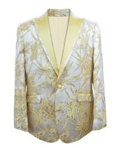 Nardoni Brand Mens Yellow ~ Champagne Fashion Paisley Floral White and Gold Tuxedo Sport Coat Blazer Bow