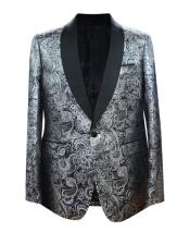 Silver 1 Button Velvet Slim Fit Casual Blazer On Sale