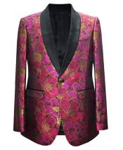 Fuchsia 1 Button Paisley