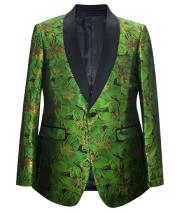 Green 1 Button Velvet Slim Fit Casual Blazer On Sale