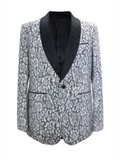 Nardoni Brand Mens One Button Floral Designed Shawl Lapel White Sport