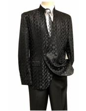 Mandarin Collar Double Breasted Black Flap Front Pocket Suit