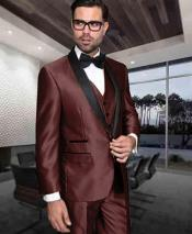 Mens Shiny Tuxedo 1 Button Dark Brown Shawl Lapel