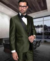 Mens 1 Button Shiny Tuxedo Modern Fit Vested Suit Dark Olive Green