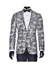 Peak Lapel Single Breasted Tuxedo Silver Gray Dinner Jacket