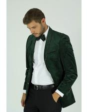 Velvet ~ Velour Green Dinner Tuxedo Jacket And Gold Shawl Trim Lapel