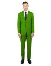 Green ~ Lime Flap Front Pockets Festive Stylish Young  Suit