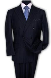 Pinstripe Discounted Sale NAVY Blue Shadow Stripe Tone On Tone Double breasted Suit Super 150s Wool