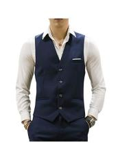 Mens Navy 4 Buttons Casual Suit