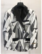 Peak Lapel Fashion Party Paisley ~ Sequin Black ~ White Mens Blazer